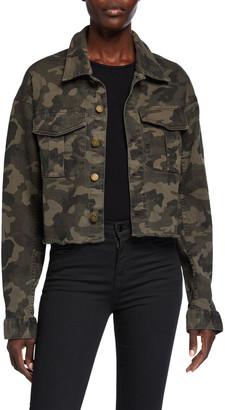 DL1961 Premium Denim Annie Cropped Camo-Print Utility Jacket