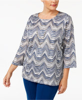 Alfred Dunner Plus Size Arizona Sky Collection Zigzag Necklace Top