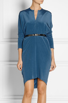 Zero Maria Cornejo Cape-back belted silk-sateen dress