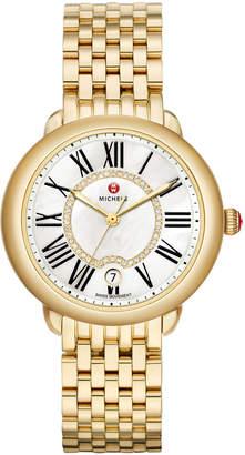 Michele 36mm Serein Mid Gold Diamond-Dial Watch