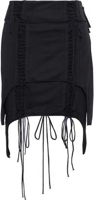 Helmut Lang Aviator Layered Lace-up Cotton-jersey Mini Skirt