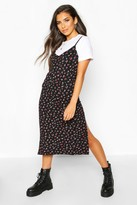 boohoo Ditsy Floral Slip Midi Jersey Dress