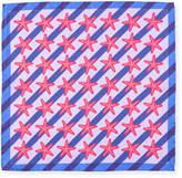 Bugatchi Striped Starfish Silk Pocket Square