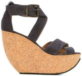 Mini Market Minimarket - 'Wati' wedge sandals - women - Cotton/Leather/rubber - 37
