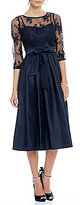 Jessica Howard Illusion Sweetheart Neck Inset Waist Tie-Sash Pleated Skirt Dress