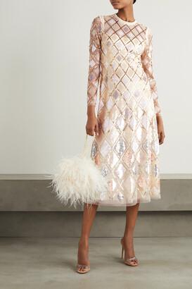 NEEDLE & THREAD - Sequin Diamond Ballerina Embellished Tulle Midi Dress - Cream