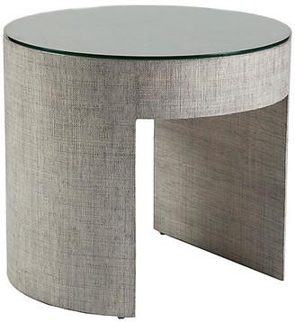 Artistica Precept Round Raffia Side Table - Light Gray frame, light gray; glass, clear