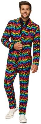 OppoSuits Men's Slim-Fit Novelty Pattern Suit & Tie Set