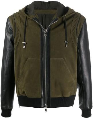 Balmain Hooded Leather Bomber Jacket