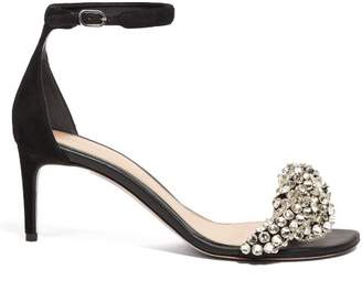 Alexander McQueen Crystal Embellished Leather Sandals - Womens - Black