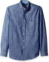 U.S. Polo Assn. Men's Long Sleeve Cotton Canvas Slub Sport Shirt