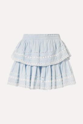 LoveShackFancy Riviera Tiered Crochet-trimmed Cotton-voile Mini Skirt - Sky blue