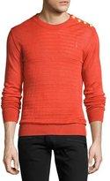 Balmain Ribbed Linen Button-Shoulder Sweater, Orange