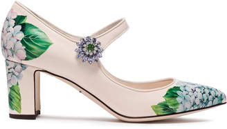 Dolce & Gabbana Crystal-embellished Floral-print Patent-leather Mary Jane Pumps