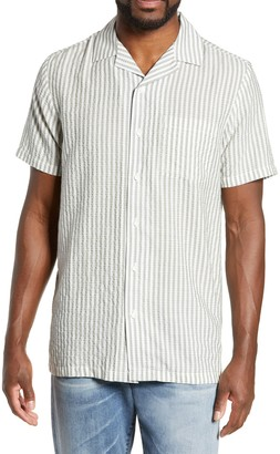 Onia Vacation Striped Seersucker Short Sleeve Shirt