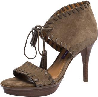 Ralph Lauren Brown Suede Whipstitch Tassel Lace Ankle Wrap Platform Sandals Size 36