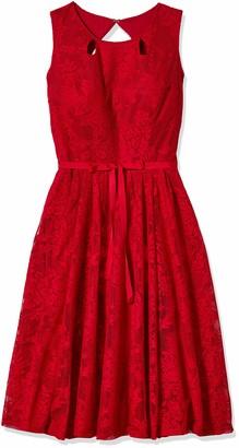 Gabby Skye Women's Petite Cap Sleeve Round Neck Scuba Fit & Flare Dress