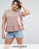 Asos Ruffle Hem Wash T-Shirt