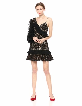 Keepsake Women's TMELESS Asymmetric Sleeve LACE Mini Dress