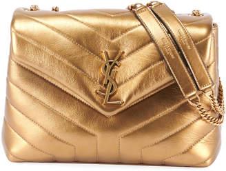 Saint Laurent Loulou Monogram Small V-Flap Metallic Leather Shoulder Bag