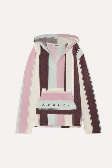 Ambush Baja Striped Cotton-blend Hoodie - Pink