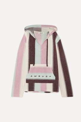 Ambush Baja Striped Cotton-blend Hoodie - Pink