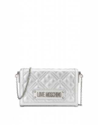 Love Moschino Quilted Evening Bag With Logo Woman Silver Size U It - (one Size Us)