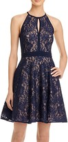 Aqua Lace Fit-and-Flare Dress