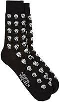 Alexander McQueen Men's Skull-Pattern Mid-Calf Socks-BLACK