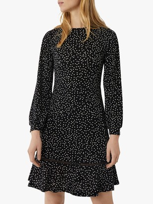 Warehouse Polka Dot Flippy Dress, Black
