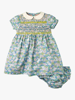 Boden Baby Smocked Occasion Floral Dress, Bluebell Flowerbed