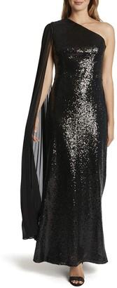Tahari ASL Women's One Shoulder Pleated Sleeve Sequin Gown