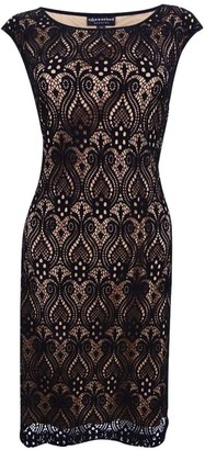 Connected Apparel Women's One Piece Lace Overlay Sheath with Colored Underlay Black/Gold 6