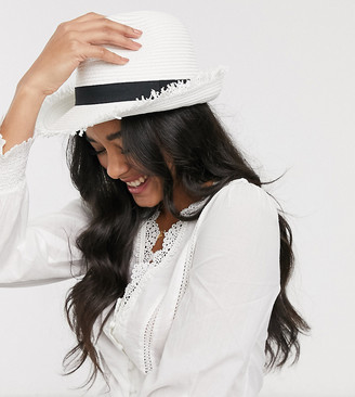 South Beach Exclusive white straw trilby with frayed edge and size adjuster