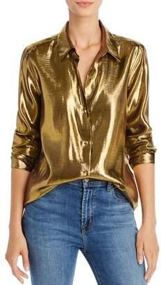 Equipment Burnel Gold Lamé Silk-Blend Shirt