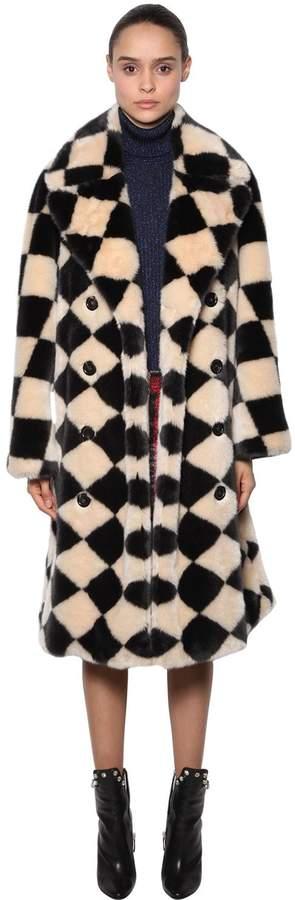 Marco De Vincenzo Damier Faux Fur Coat