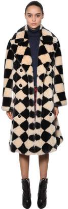 Marco De Vincenzo Damier Faux Fur Coat