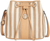 Giani Bernini Striped Straw Bucket Bag, Only at Macy's