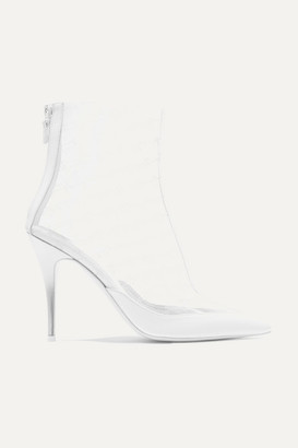 Stella McCartney Logo-perforated Pu And Vegetarian Leather Ankle Boots - White