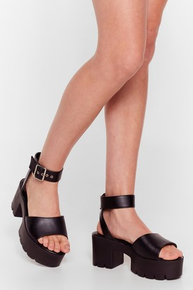 Nasty Gal Womens Don't Walk Away Wide Fit Chunky Sandals - Black - 6