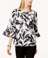 Alfani Petite Leaf-Print Ruffle-Cuff Top, Available in Regular and Petite Sizes, Created for Macy's