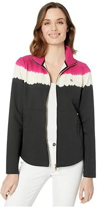 Lauren Ralph Lauren Cotton-Blend Mock Neck Jacket (Mascarpone Cream/Polo Black) Women's Clothing