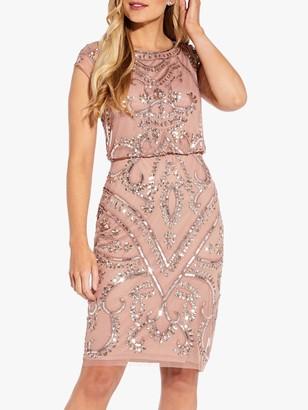 Adrianna Papell Blouson Sheath Dress, Rose Gold