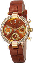 Burgi Womens Diamond Accent Crystal Gold-Tone Brown Strap Watch