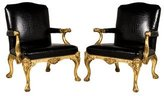 Ralph Lauren Pair of Croc Embossed Armchairs