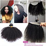 """Beauty&youth United Arrows Youth Beuaty 18"""" Mongolian Afro Kinky Curly Hair Extensions 100gram 1 bundle 4B 4C Afro Kinky Curly Virgin Human Hair weave Natural Black For African American Black Women"""