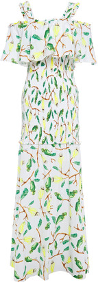 Isolda Cold-shoulder Printed Cotton-gauze Maxi Dress