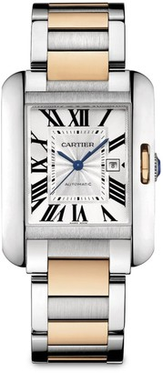 Cartier Tank Anglaise Automatic Large 18K Pink Gold & Stainless Steel Bracelet Watch