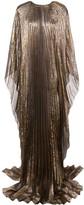 Oscar de la Renta cape-style pleated evening gown