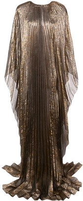Oscar de la Renta Cape-Style Pleated Evening Gown